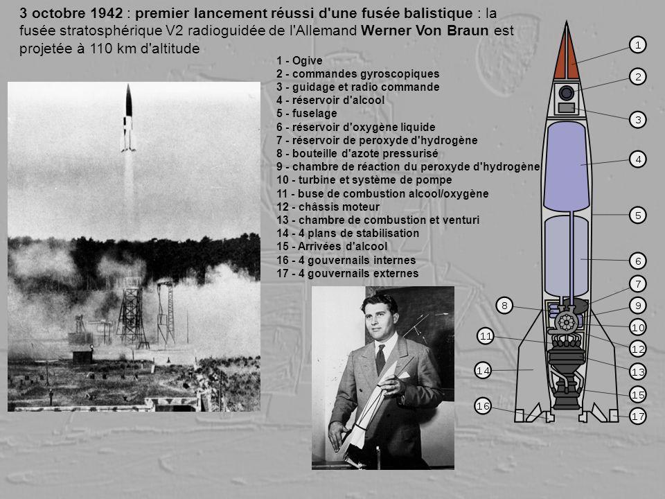 3 octobre 1942 : premier lancement réussi d'une fusée balistique : la fusée stratosphérique V2 radioguidée de l'Allemand Werner Von Braun est projetée