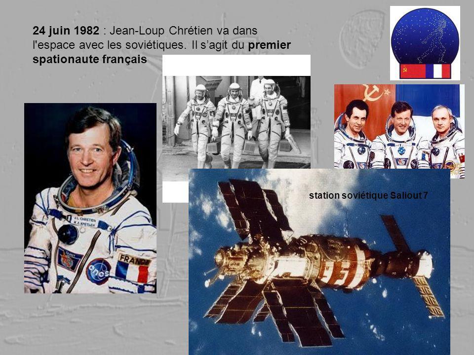 24 juin 1982 : Jean-Loup Chrétien va dans l'espace avec les soviétiques. Il sagit du premier spationaute français station soviétique Saliout 7