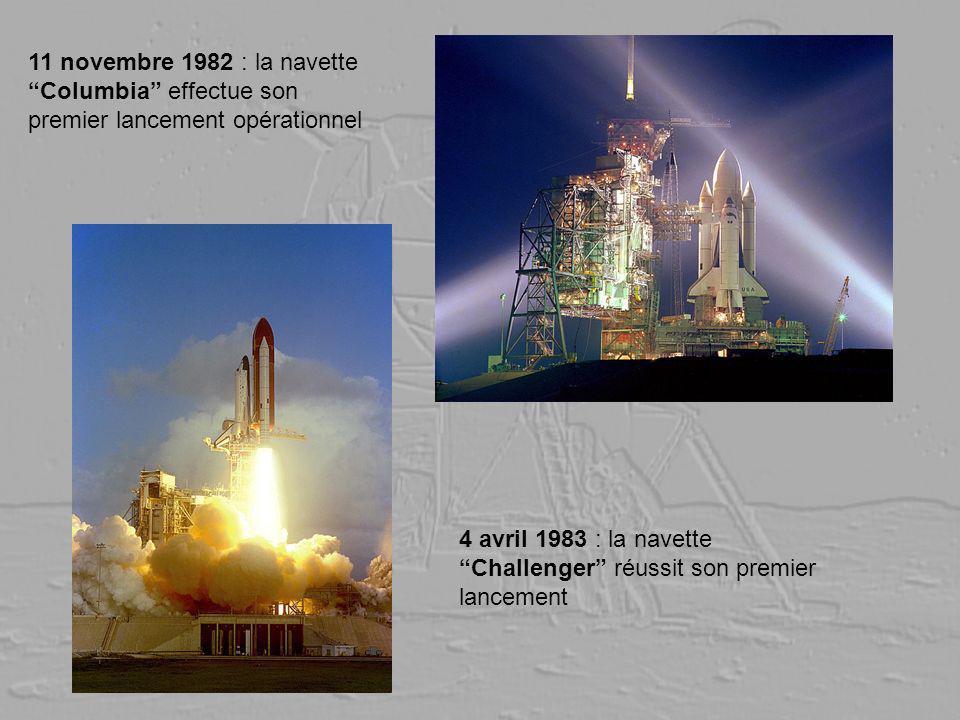 11 novembre 1982 : la navette Columbia effectue son premier lancement opérationnel 4 avril 1983 : la navette Challenger réussit son premier lancement