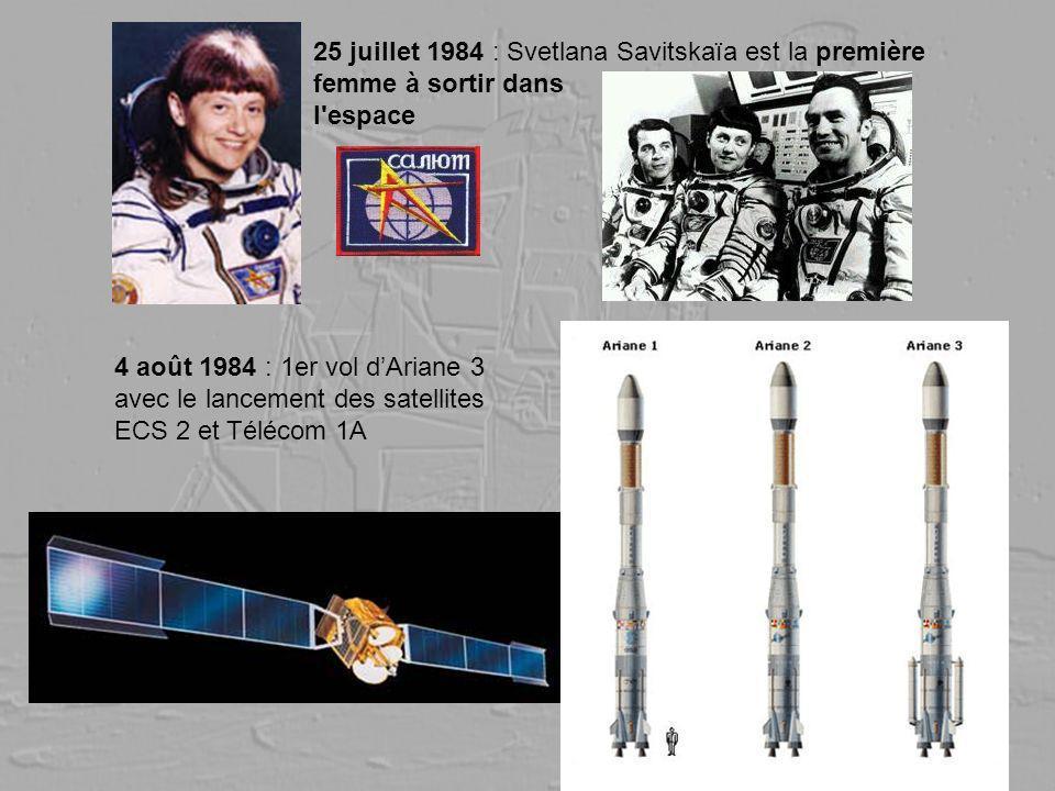 25 juillet 1984 : Svetlana Savitskaïa est la première femme à sortir dans l'espace 4 août 1984 : 1er vol dAriane 3 avec le lancement des satellites EC