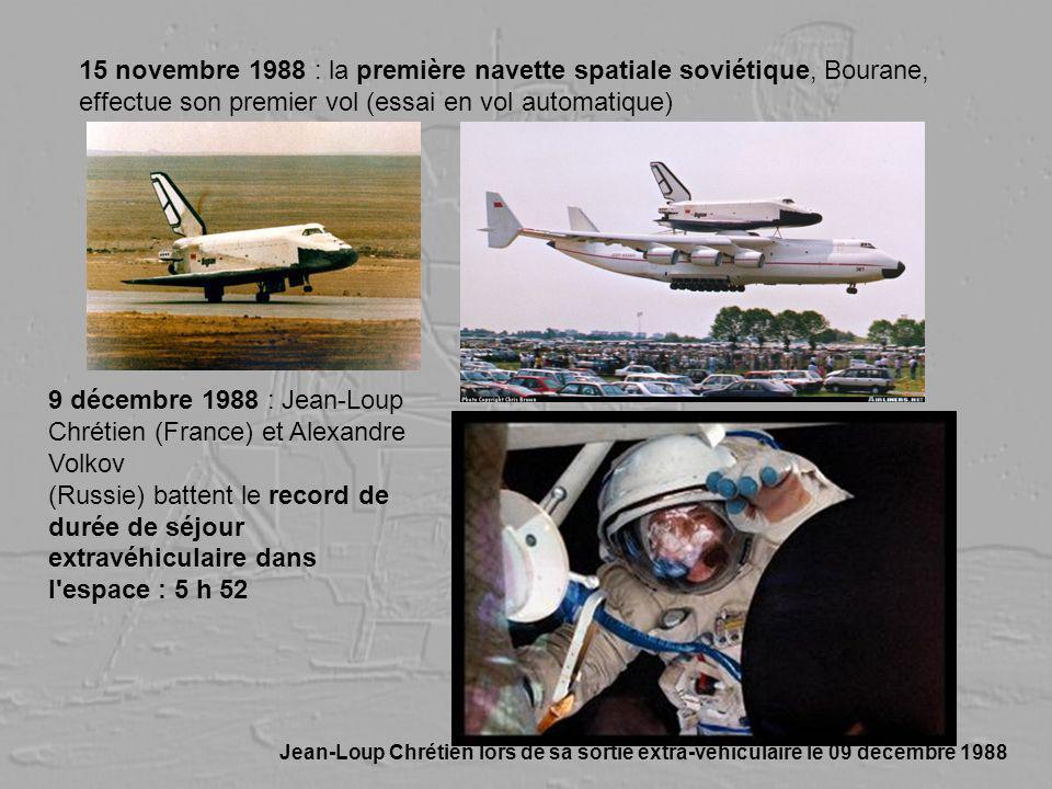 15 novembre 1988 : la première navette spatiale soviétique, Bourane, effectue son premier vol (essai en vol automatique) 9 décembre 1988 : Jean-Loup C