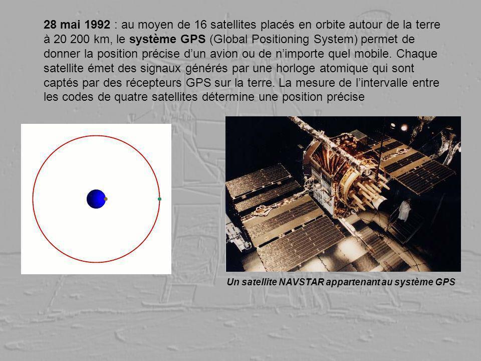 28 mai 1992 : au moyen de 16 satellites placés en orbite autour de la terre à 20 200 km, le système GPS (Global Positioning System) permet de donner l