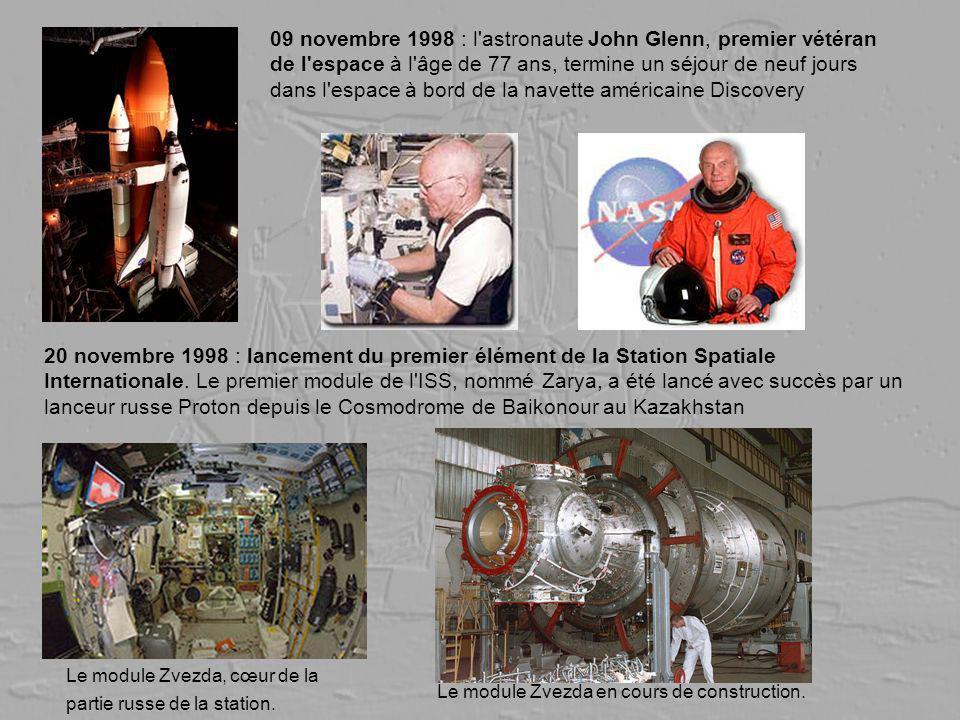 09 novembre 1998 : l'astronaute John Glenn, premier vétéran de l'espace à l'âge de 77 ans, termine un séjour de neuf jours dans l'espace à bord de la