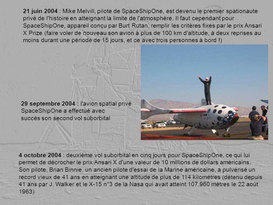 21 juin 2004 : Mike Melvill, pilote de SpaceShipOne, est devenu le premier spationaute privé de l'histoire en atteignant la limite de l'atmosphère. Il