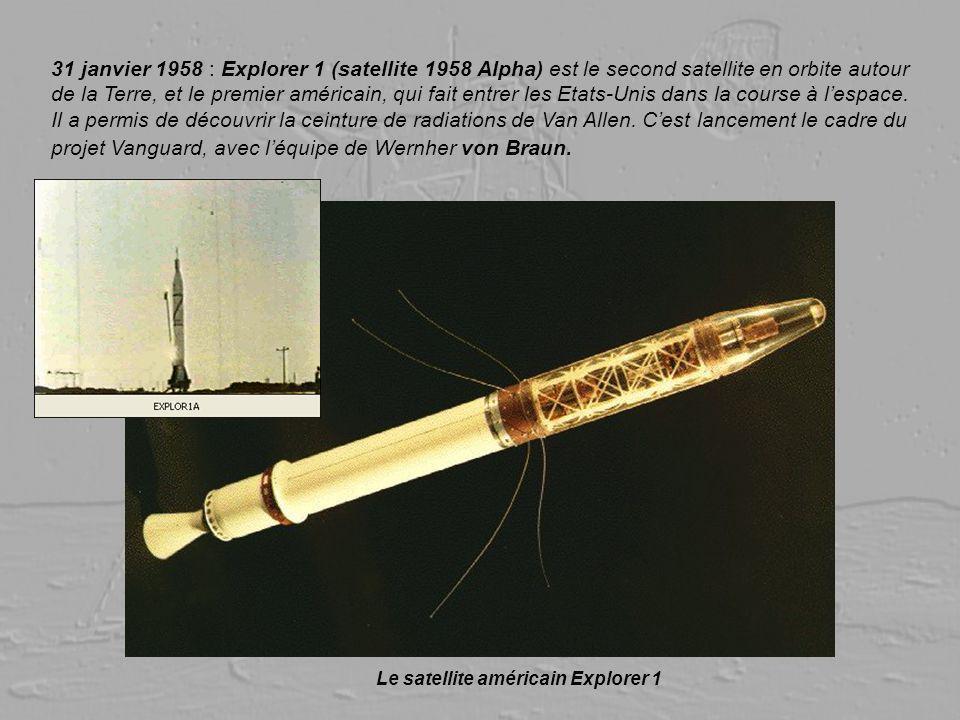 31 janvier 1958 : Explorer 1 (satellite 1958 Alpha) est le second satellite en orbite autour de la Terre, et le premier américain, qui fait entrer les