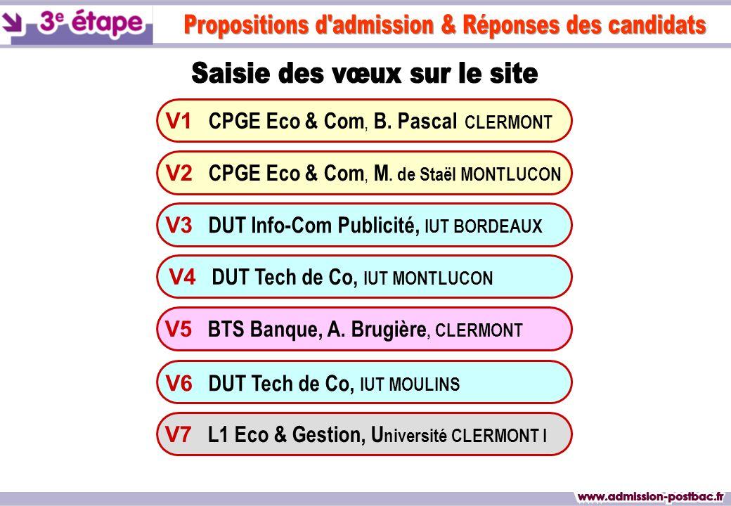 V1 CPGE Eco & Com, B. Pascal CLERMONT V3 DUT Info-Com Publicité, IUT BORDEAUX V4 DUT Tech de Co, IUT MONTLUCON V6 DUT Tech de Co, IUT MOULINS V7 L1 Ec