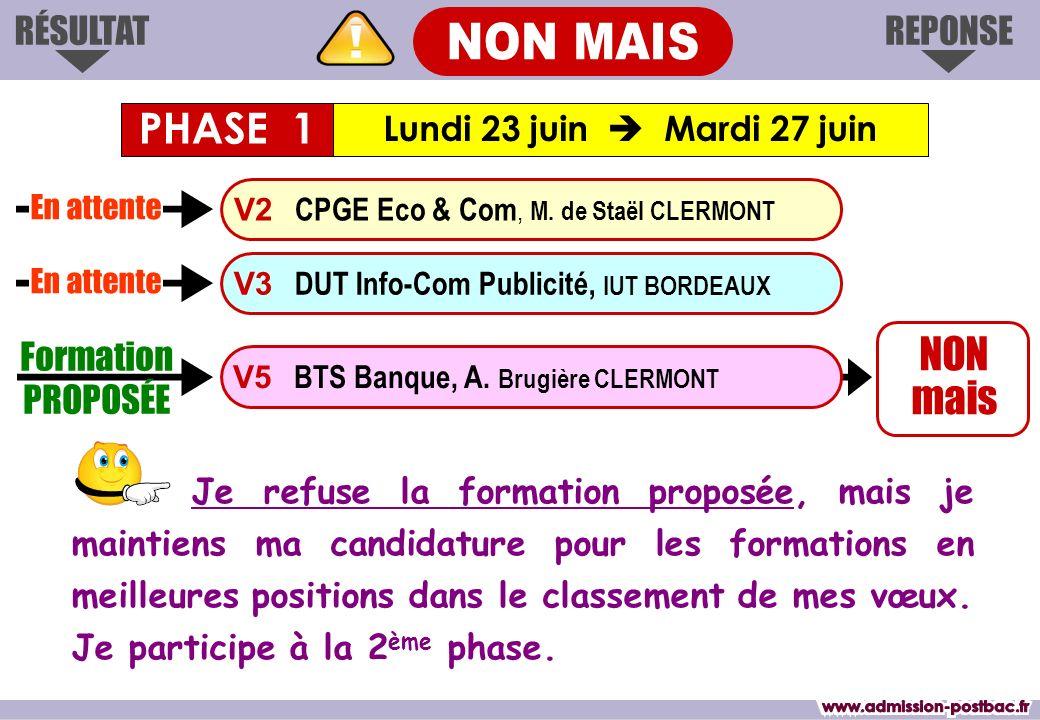 REPONSERÉSULTAT NON mais Formation PROPOSÉE V3 DUT Info-Com Publicité, IUT BORDEAUX V2 CPGE Eco & Com, M. de Staël CLERMONT V5 BTS Banque, A. Brugière