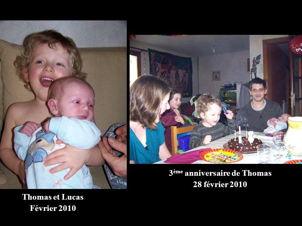 Thomas et Lucas Février 2010 3 ème anniversaire de Thomas 28 février 2010