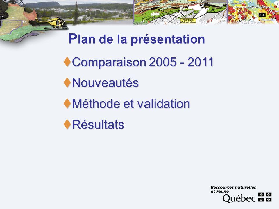 P lan de la présentation Comparaison 2005 - 2011 Comparaison 2005 - 2011 Nouveautés Nouveautés Méthode et validation Méthode et validation Résultats R