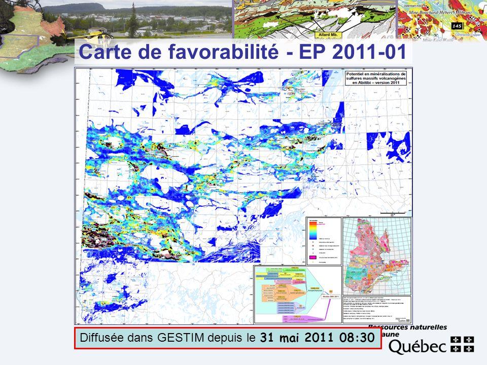 Carte de favorabilité - EP 2011-01 Diffusée dans GESTIM depuis le 31 mai 2011 08:30