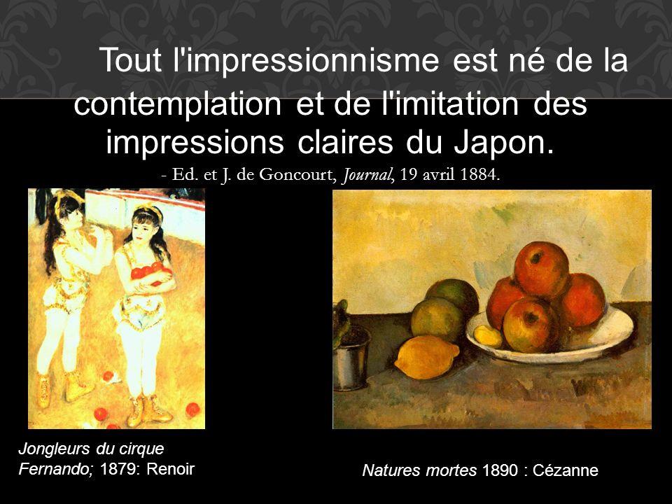 Tout l'impressionnisme est né de la contemplation et de l'imitation des impressions claires du Japon. - Ed. et J. de Goncourt, Journal, 19 avril 1884.