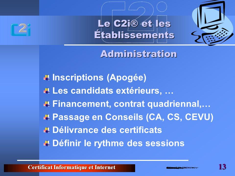 Certificat Informatique et Internet 13 Le C2i® et les Établissements Inscriptions (Apogée) Les candidats extérieurs, … Financement, contrat quadrienna