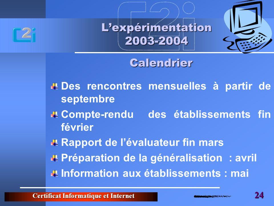 Certificat Informatique et Internet 24 Lexpérimentation 2003-2004 Des rencontres mensuelles à partir de septembre Compte-rendu des établissements fin