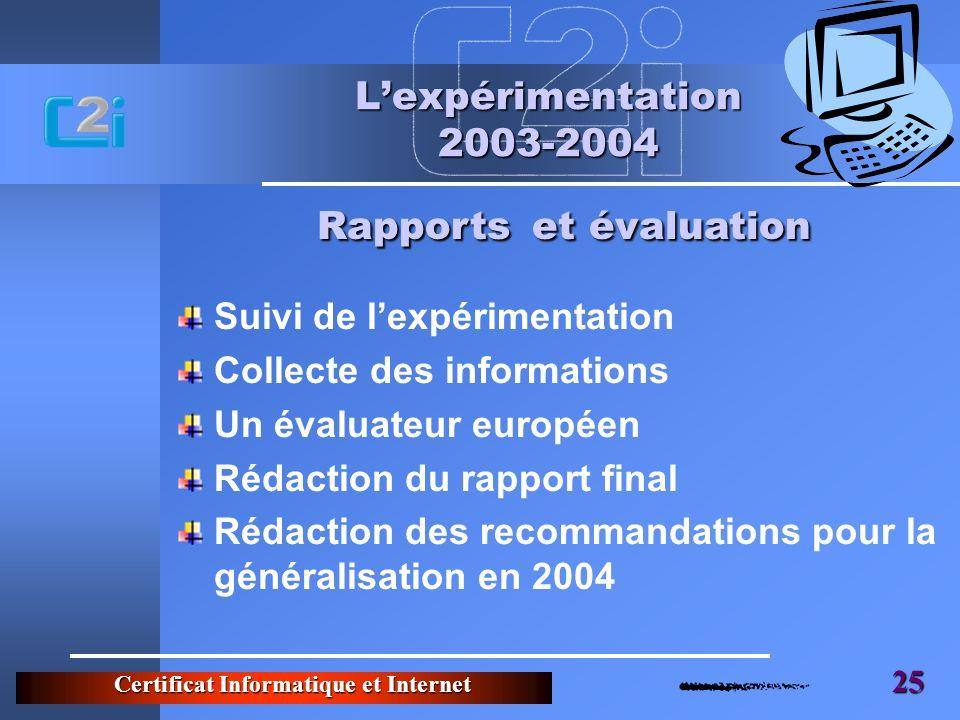 Certificat Informatique et Internet 25 Lexpérimentation 2003-2004 Suivi de lexpérimentation Collecte des informations Un évaluateur européen Rédaction du rapport final Rédaction des recommandations pour la généralisation en 2004 Rapports et évaluation