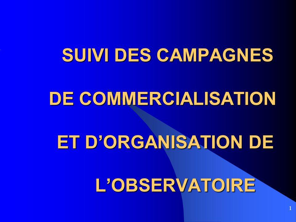 1 SUIVI DES CAMPAGNES DE COMMERCIALISATION ET DORGANISATION DE LOBSERVATOIRE SUIVI DES CAMPAGNES DE COMMERCIALISATION ET DORGANISATION DE LOBSERVATOIR