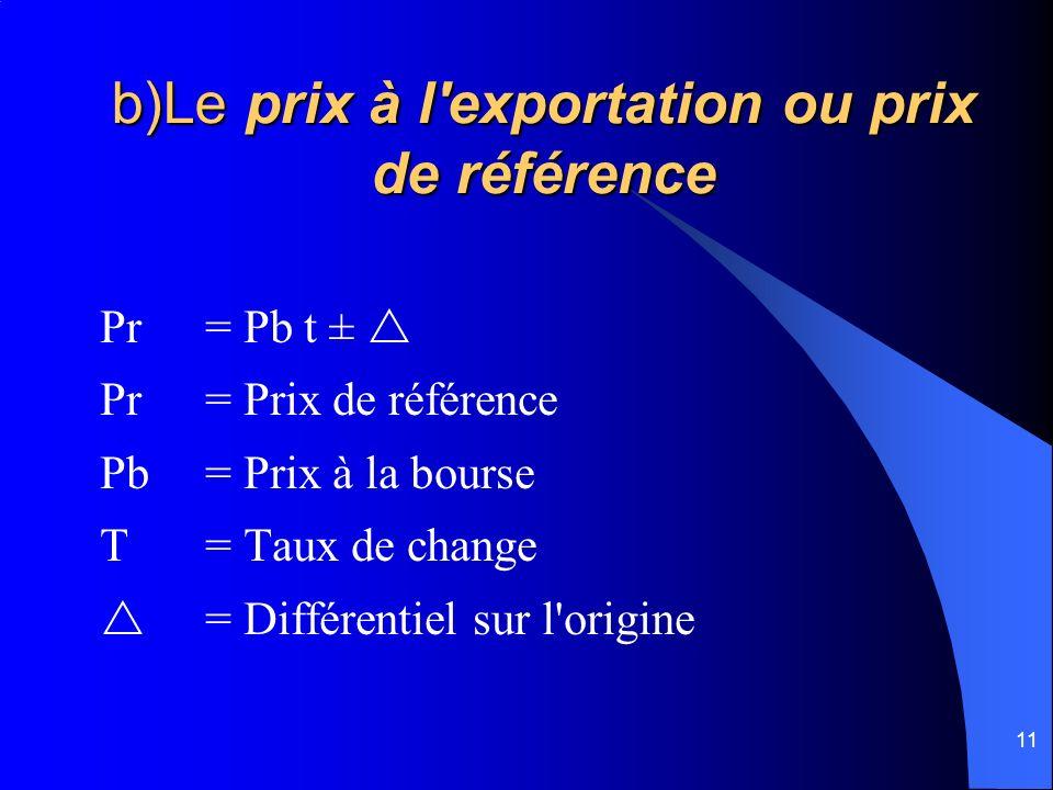 11 b)Le prix à l'exportation ou prix de référence Pr = Pb t ± Pr = Prix de référence Pb= Prix à la bourse T = Taux de change = Différentiel sur l'orig