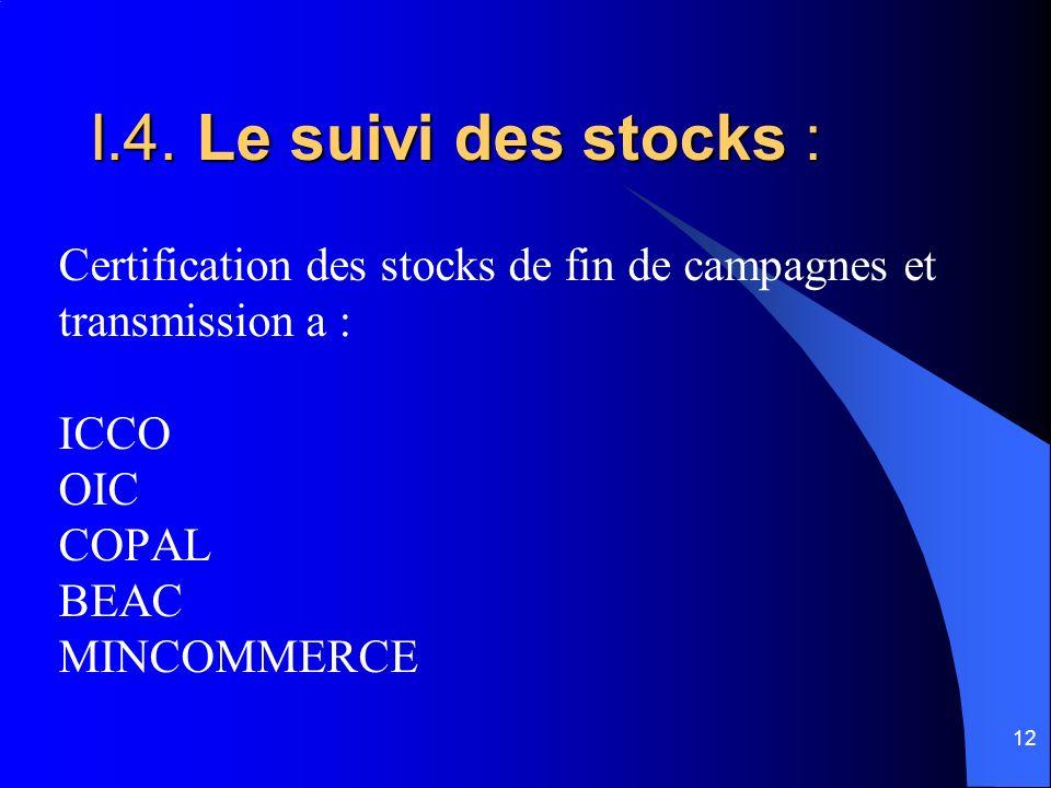 12 I.4. Le suivi des stocks : Certification des stocks de fin de campagnes et transmission a : ICCO OIC COPAL BEAC MINCOMMERCE