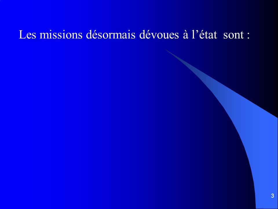 3 Les missions désormais dévoues à létat sont :