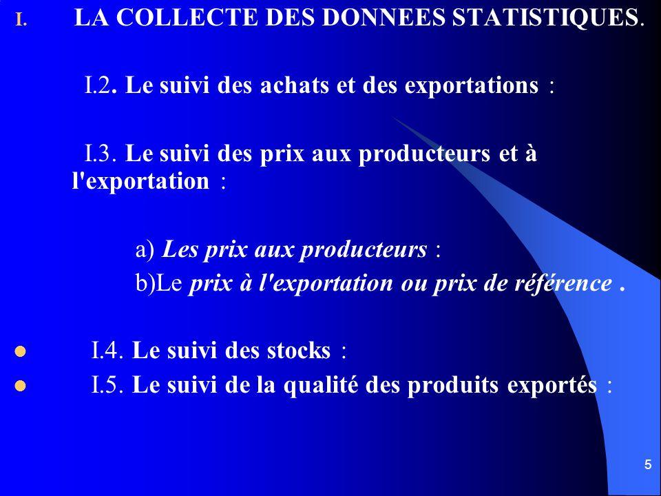 5 I. LA COLLECTE DES DONNEES STATISTIQUES. I.2. Le suivi des achats et des exportations : I.3. Le suivi des prix aux producteurs et à l'exportation :