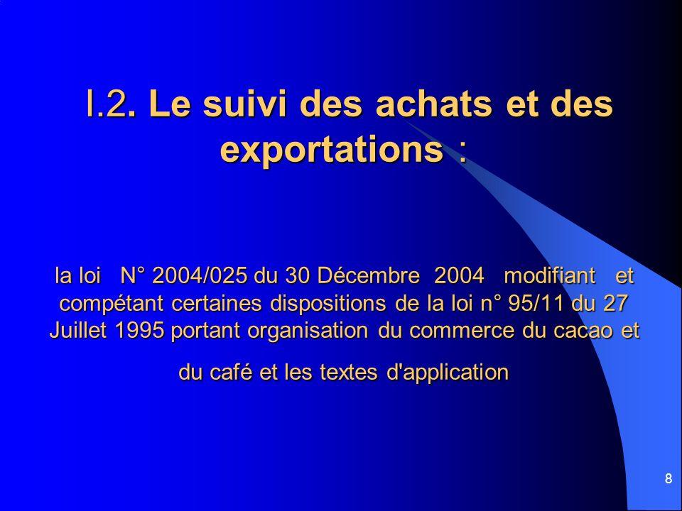 9 Les supports utilisés sont : Les fiches de déclaration (D.E.) remplies par les sociétés de transit ; Les déclarations douanières à l exportation formule (D6) ; Les fiches de préliquidations des redevances dues aux organes des filières ; Les certificats d origines.