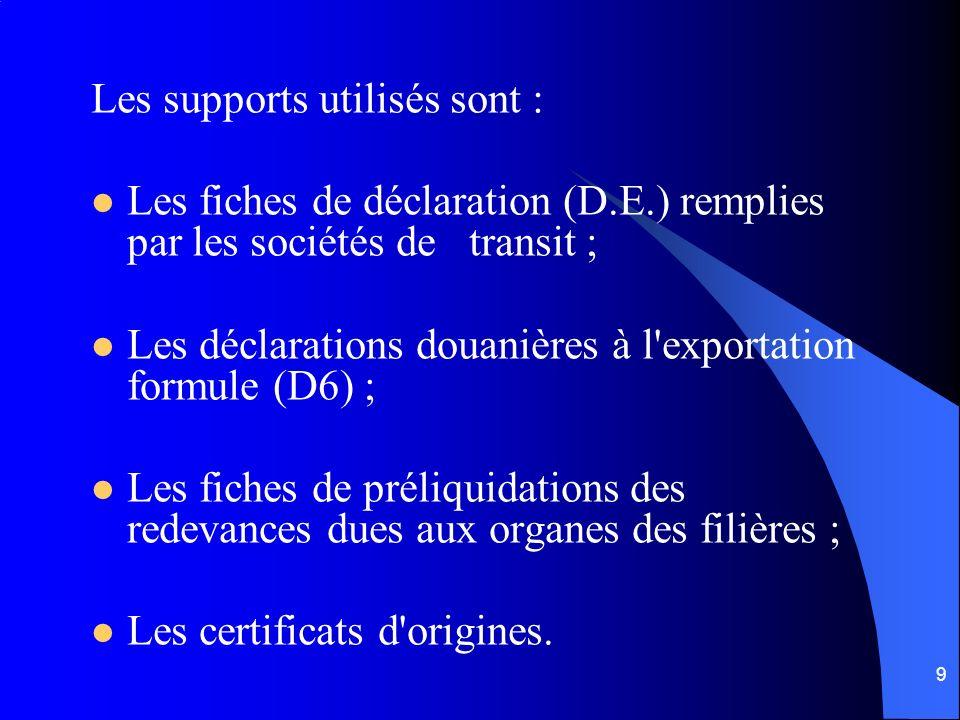 9 Les supports utilisés sont : Les fiches de déclaration (D.E.) remplies par les sociétés de transit ; Les déclarations douanières à l'exportation for