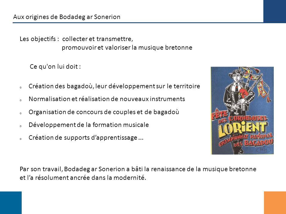Aujourdhui Le cœur de la musique bretonne Bodadeg ar Sonerion est devenue un acteur incontournable de la culture bretonne o Une assemblée de plus de 10 000 sonneurs o De 90 à 130 associations « bagad » en près de dix ans o La formation musicale se développe et sorganise, o Des groupes proposent de nombreuses créations et souvrent à de nombreuses complicités musicales Riche du partage de ses nombreuses années d expérience, Bodadeg ar Sonerion est reconnu par tous comme le cœur de la musique bretonne.
