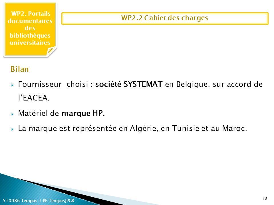WP2. Portails documentaires des bibliothèques universitaires 13 WP2.2 Cahier des charges Bilan Fournisseur choisi : société SYSTEMAT en Belgique, sur