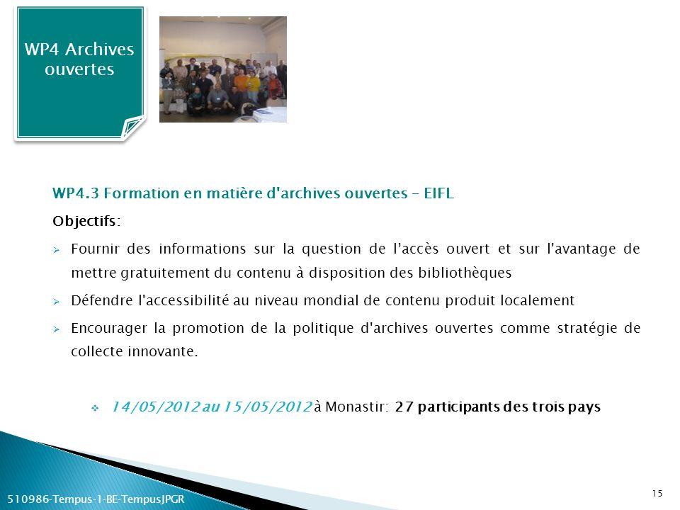 WP4.3 Formation en matière d'archives ouvertes – EIFL Objectifs: Fournir des informations sur la question de laccès ouvert et sur l'avantage de mettre