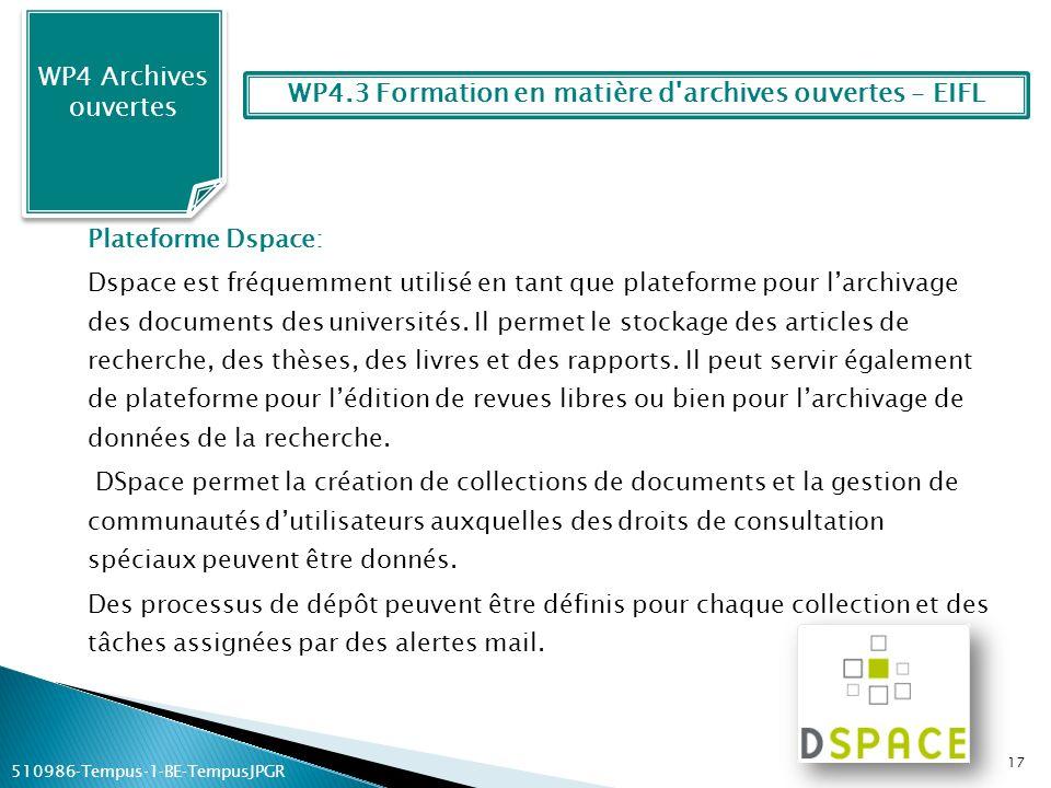 Plateforme Dspace: Dspace est fréquemment utilisé en tant que plateforme pour larchivage des documents des universités. Il permet le stockage des arti