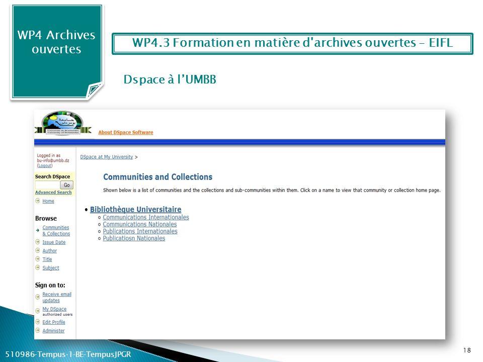 Dspace à lUMBB WP4 Archives ouvertes 18 WP4.3 Formation en matière d'archives ouvertes – EIFL 510986Tempus1BETempusJPGR