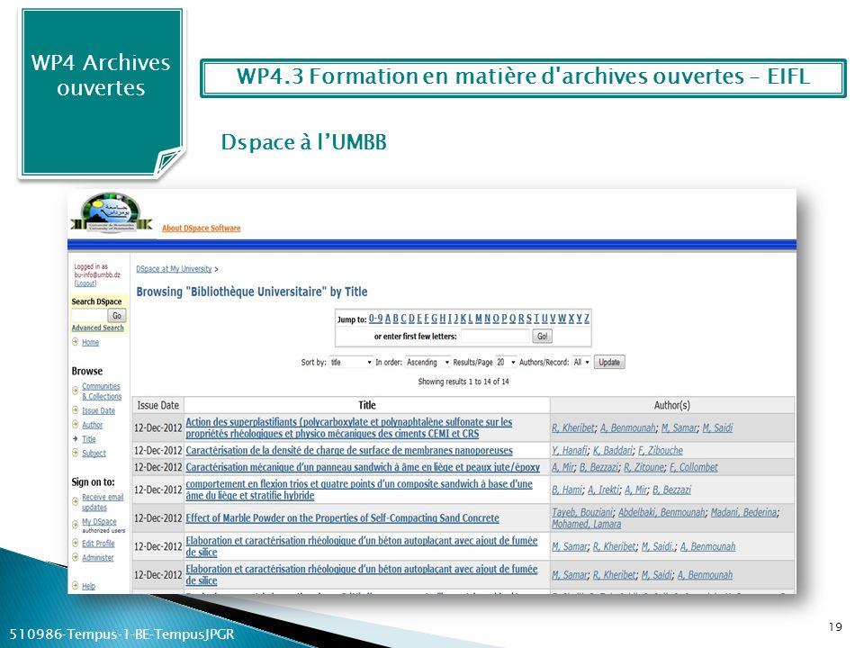 Dspace à lUMBB WP4 Archives ouvertes 19 WP4.3 Formation en matière d'archives ouvertes – EIFL 510986Tempus1BETempusJPGR