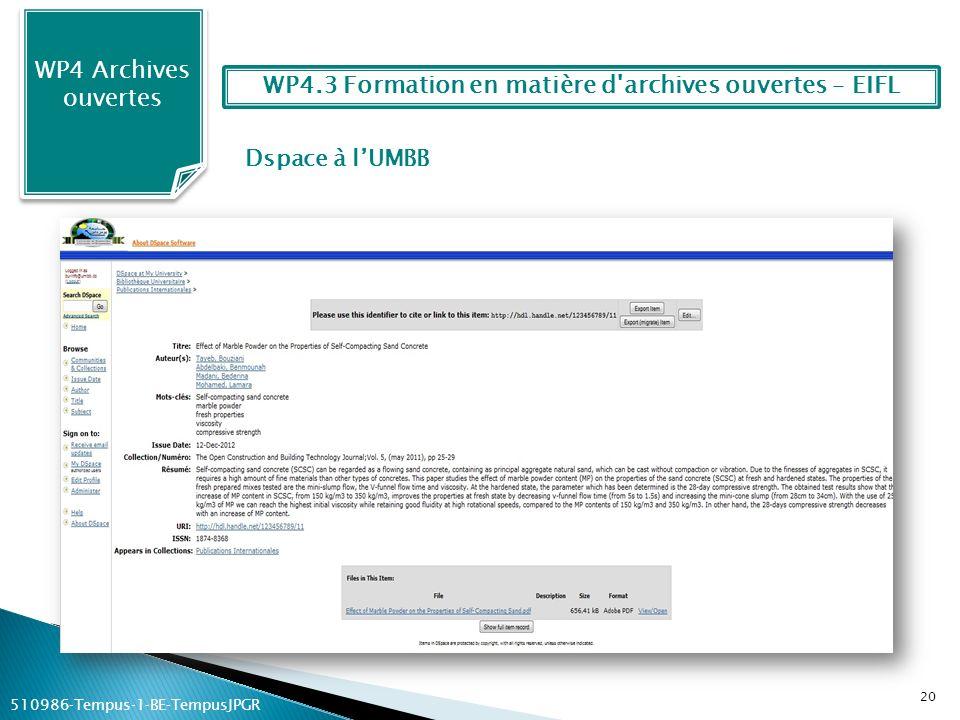 Dspace à lUMBB WP4 Archives ouvertes 20 WP4.3 Formation en matière d'archives ouvertes – EIFL 510986Tempus1BETempusJPGR