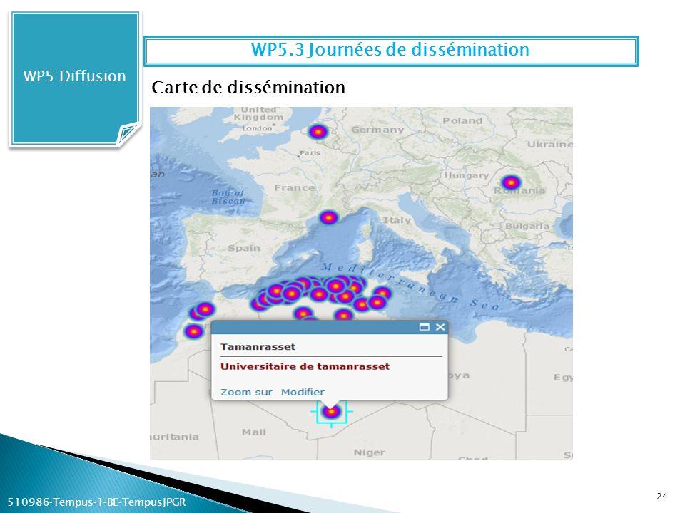24 WP5 Diffusion WP5.3 Journées de dissémination Carte de dissémination 510986Tempus1BETempusJPGR