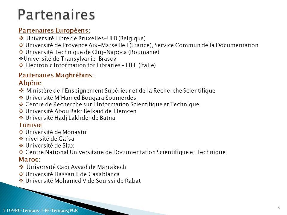 Partenaires Européens: Université Libre de Bruxelles-ULB (Belgique) Université de Provence Aix-Marseille I (France), Service Commun de la Documentatio