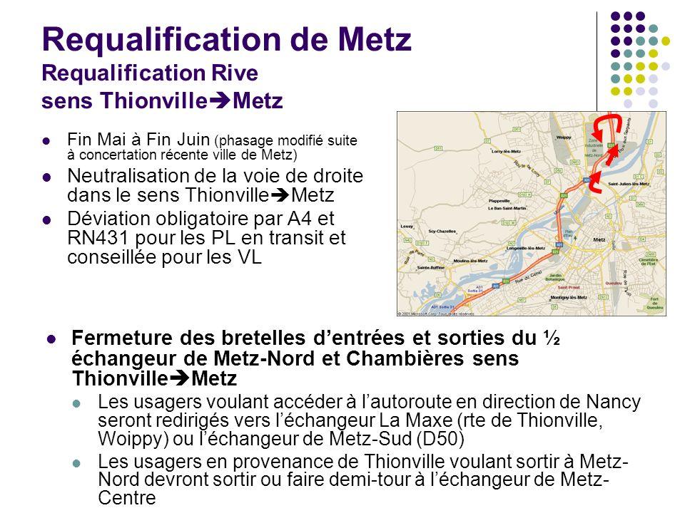 Requalification de Metz Requalification Rive sens Thionville Metz Fin Mai à Fin Juin (phasage modifié suite à concertation récente ville de Metz) Neut