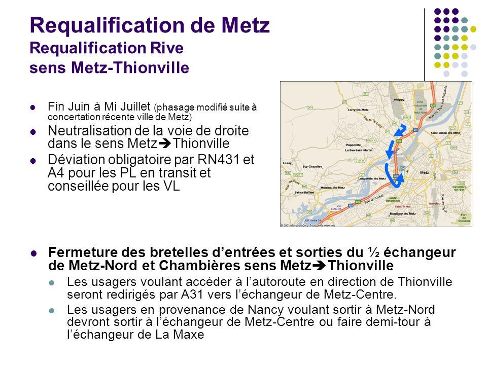 Requalification de Metz Requalification Rive sens Metz-Thionville Fin Juin à Mi Juillet (phasage modifié suite à concertation récente ville de Metz) N