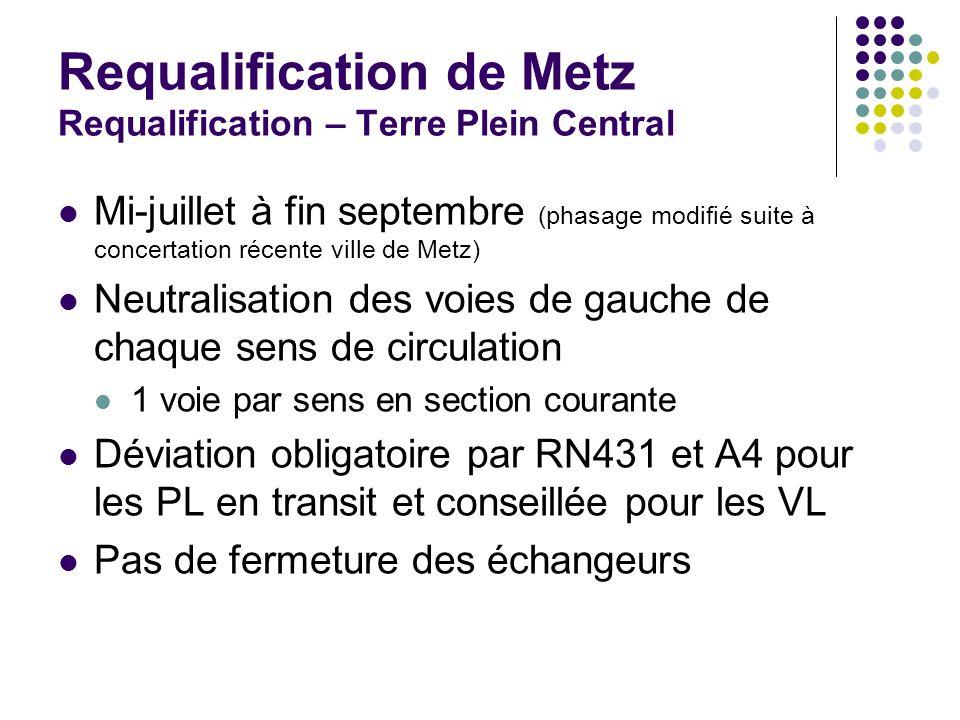 Requalification de Metz Requalification – Terre Plein Central Mi-juillet à fin septembre (phasage modifié suite à concertation récente ville de Metz)