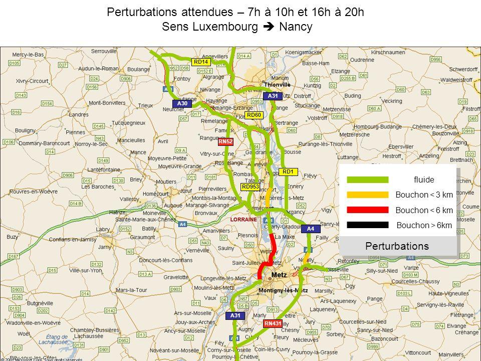 Perturbations attendues – 7h à 10h et 16h à 20h Sens Luxembourg Nancy fluide Bouchon < 3 km Bouchon > 6km Perturbations Bouchon < 6 km RN52 RN431 A31