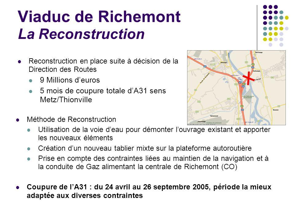 Viaduc de Richemont La Reconstruction Reconstruction en place suite à décision de la Direction des Routes 9 Millions deuros 5 mois de coupure totale d