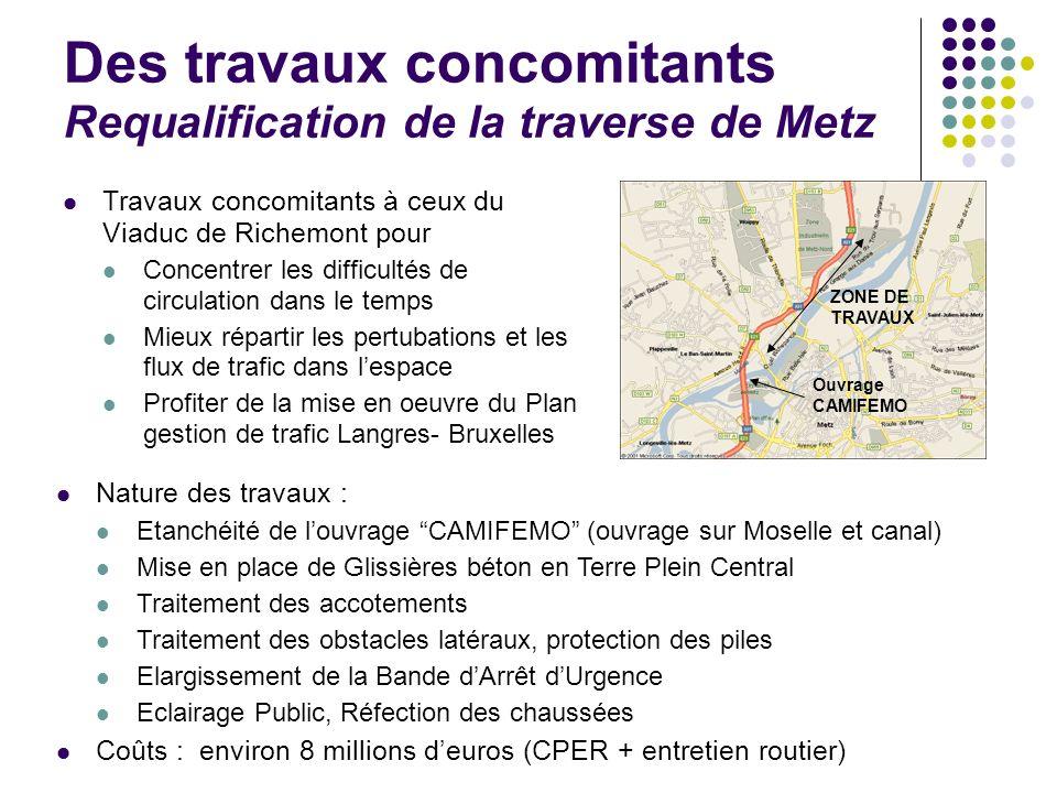 Des travaux concomitants Requalification de la traverse de Metz Travaux concomitants à ceux du Viaduc de Richemont pour Concentrer les difficultés de