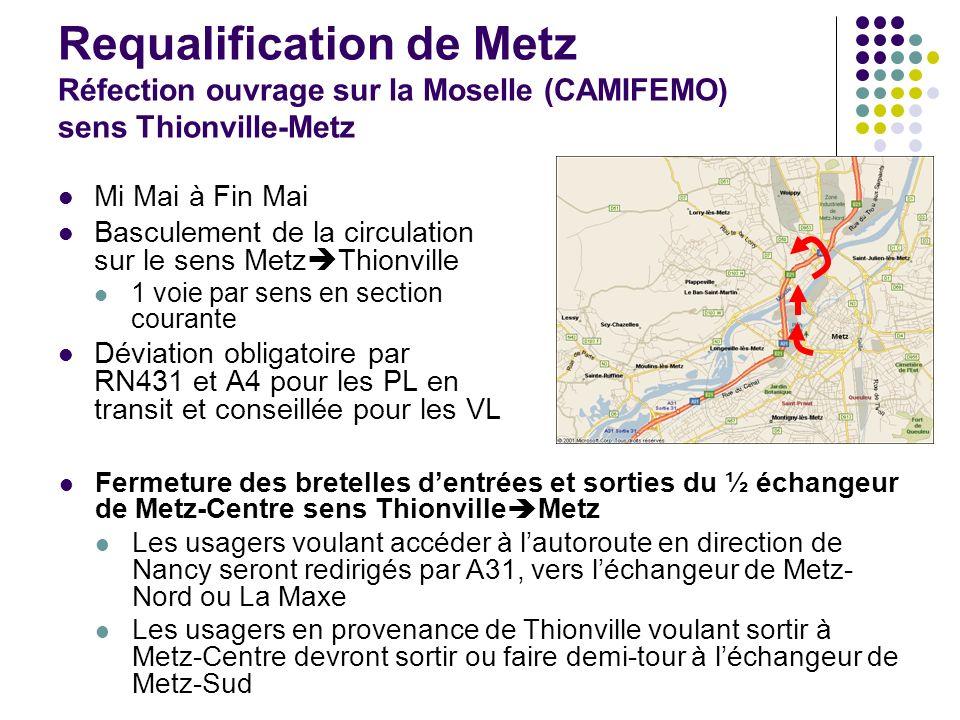 Requalification de Metz Réfection ouvrage sur la Moselle (CAMIFEMO) sens Thionville-Metz Mi Mai à Fin Mai Basculement de la circulation sur le sens Me