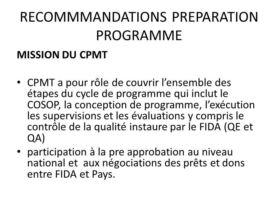 RECOMMMANDATIONS PREPARATION PROGRAMME MISSION DU CPMT CPMT a pour rôle de couvrir lensemble des étapes du cycle de programme qui inclut le COSOP, la conception de programme, lexécution les supervisions et les évaluations y compris le contrôle de la qualité instaure par le FIDA (QE et QA) participation à la pre approbation au niveau national et aux négociations des prêts et dons entre FIDA et Pays.