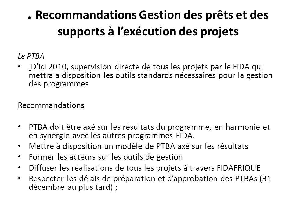 Recommandations Gestion des prêts et des supports à lexécution des projets Le PTBA Dici 2010, supervision directe de tous les projets par le FIDA qui mettra a disposition les outils standards nécessaires pour la gestion des programmes.