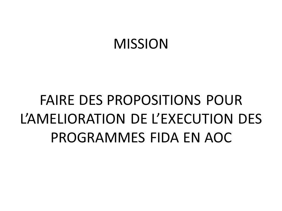 MISSION FAIRE DES PROPOSITIONS POUR LAMELIORATION DE LEXECUTION DES PROGRAMMES FIDA EN AOC
