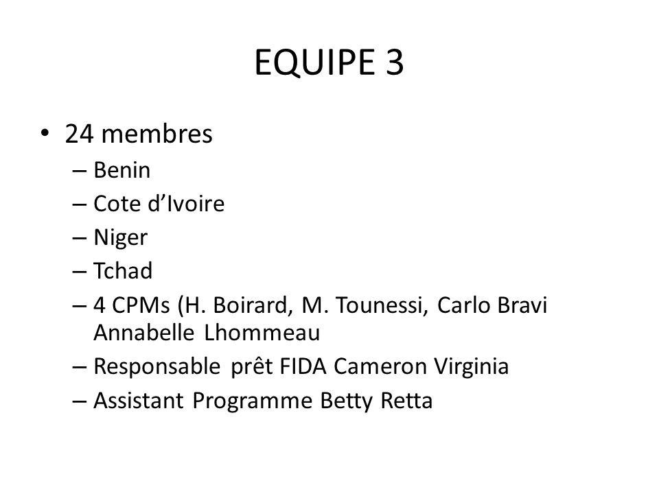 EQUIPE 3 24 membres – Benin – Cote dIvoire – Niger – Tchad – 4 CPMs (H.