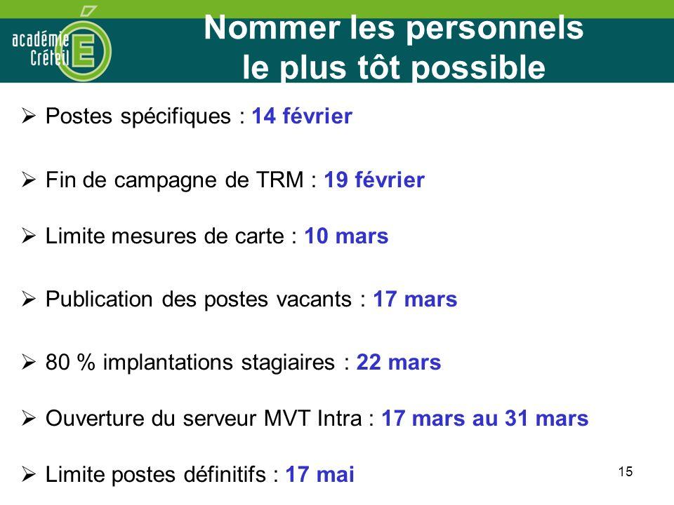 15 Nommer les personnels le plus tôt possible Postes spécifiques : 14 février Fin de campagne de TRM : 19 février Limite mesures de carte : 10 mars Pu