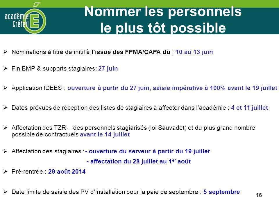 16 Nominations à titre définitif à lissue des FPMA/CAPA du : 10 au 13 juin Fin BMP & supports stagiaires: 27 juin Application IDEES : ouverture à part