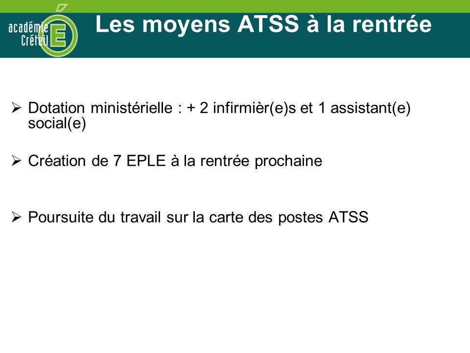 Les moyens ATSS à la rentrée Dotation ministérielle : + 2 infirmièr(e)s et 1 assistant(e) social(e) Création de 7 EPLE à la rentrée prochaine Poursuite du travail sur la carte des postes ATSS
