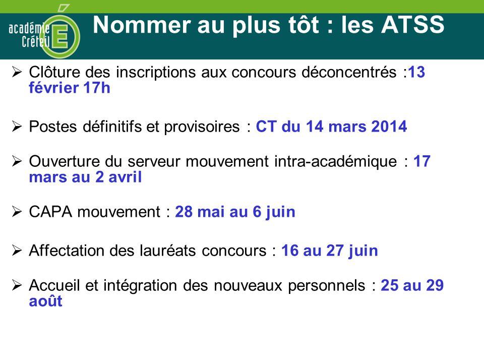 Nommer au plus tôt : les ATSS Clôture des inscriptions aux concours déconcentrés :13 février 17h Postes définitifs et provisoires : CT du 14 mars 2014