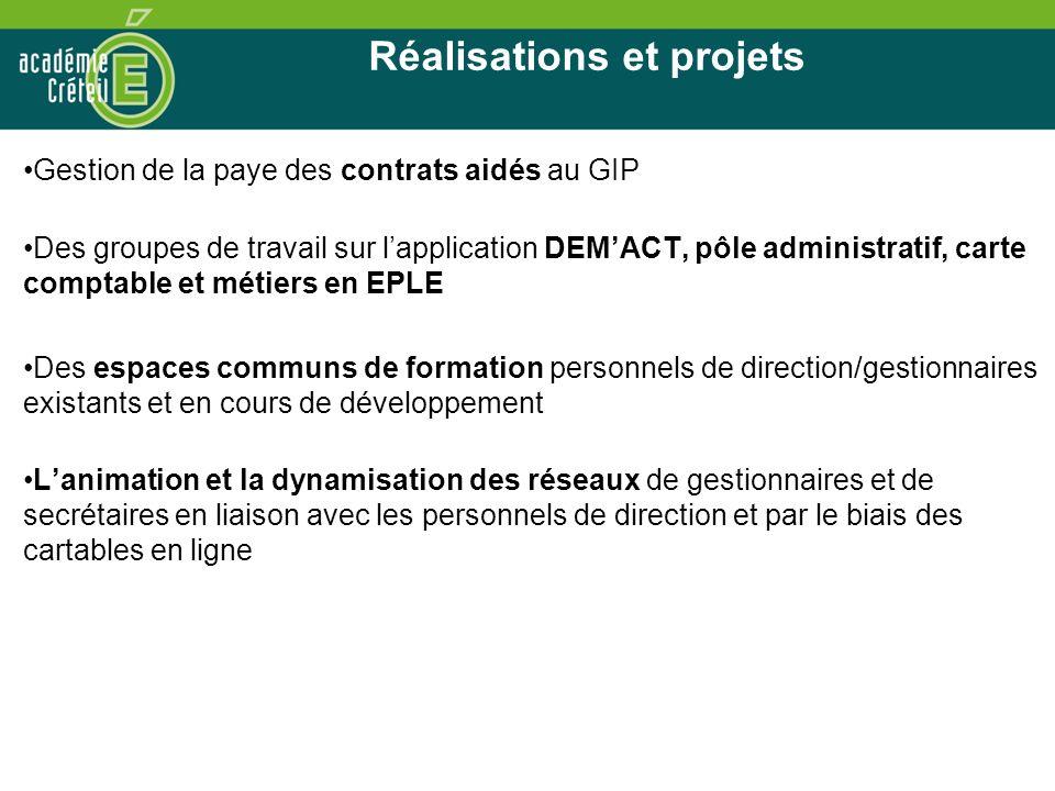Réalisations et projets Gestion de la paye des contrats aidés au GIP Des groupes de travail sur lapplication DEMACT, pôle administratif, carte comptab